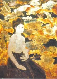 La Femme au lotus, laque avec feuilles d'or