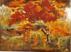 Ronde autour du flamboyant, laque (vers 1960)