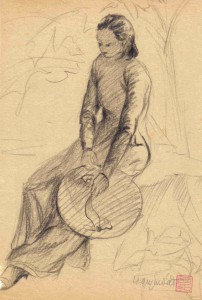 Jeune femme au chapeau, crayon graphite sur papier (1939)