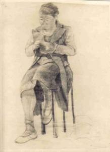Modèle assis, crayon graphite sur papier