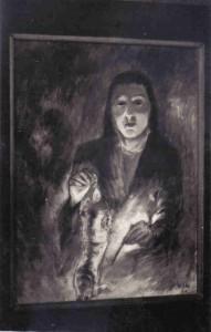 La femme au chat, huile sur toile (Hanoï 1954)