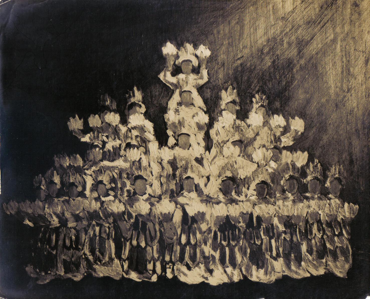 Danseuses, huile sur toile (Coll.part. Saïgon vers 1960)