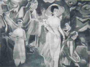 Cérémonie de mariage, lavis sur papier (Paris, vers 1972)