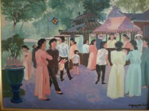 Devant le temple, huile sur toile (Paris, vers 1985)