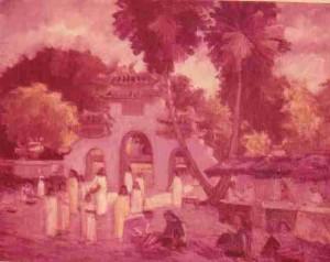 Temple Le Van Duyet, huile sur toile (Saïgon vers 1959)
