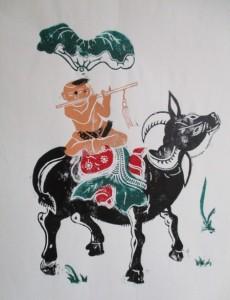 Gardien de buffle, estampe (vers 1972)