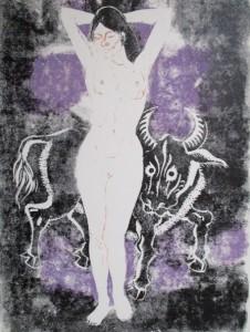 La belle et la bête, estampe (vers 1972)