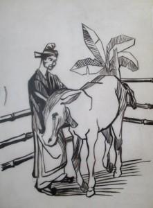 Le sage et son ânesse, encre de chine (vers 1960)