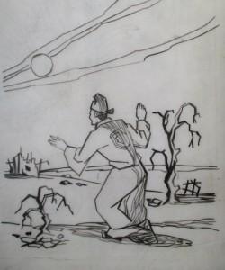 Légende de la fabrication du sucre, encre de chine (vers 1960)