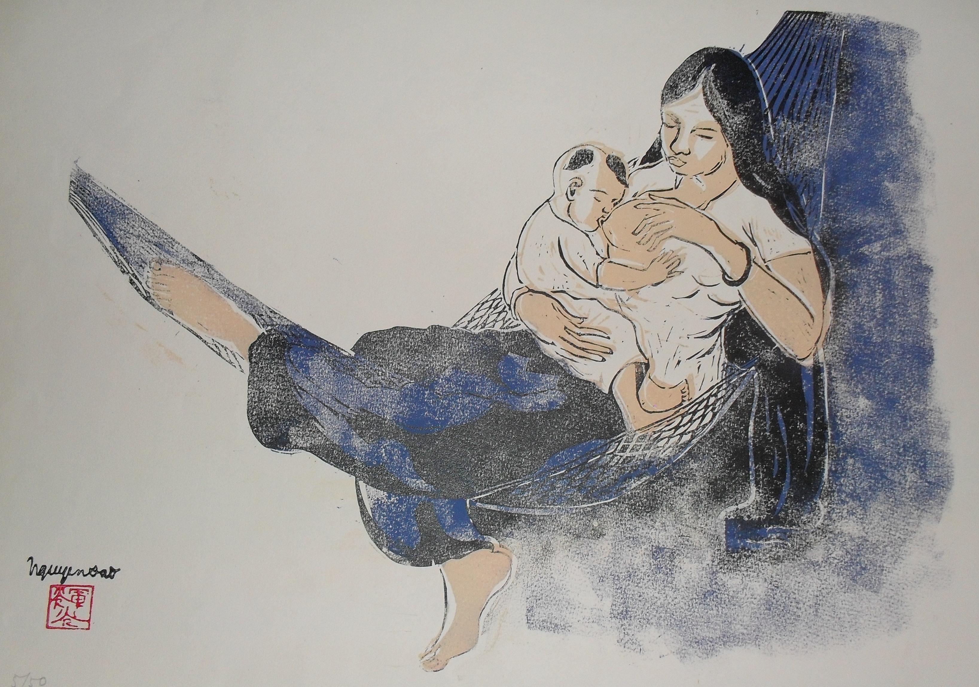 Maternité, estampe (vers 1972)