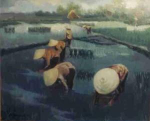 Repiquage du riz, huile sur toile (Paris, vers 1980)