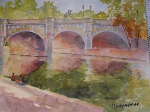 Le Pont Neuf, aquarelle sur papier 44x50 (Paris vers 1990)