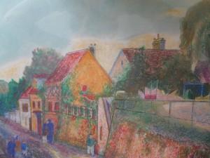 Le haut du Touarte à Villiers-sur-Morin, pastel gras sur papier 40x55, coll.part. (Paris vers 1990)
