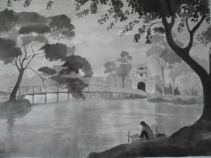 Le Lac de l'Epée restituée, lavis sur papier 30x50, Hanoi 1952