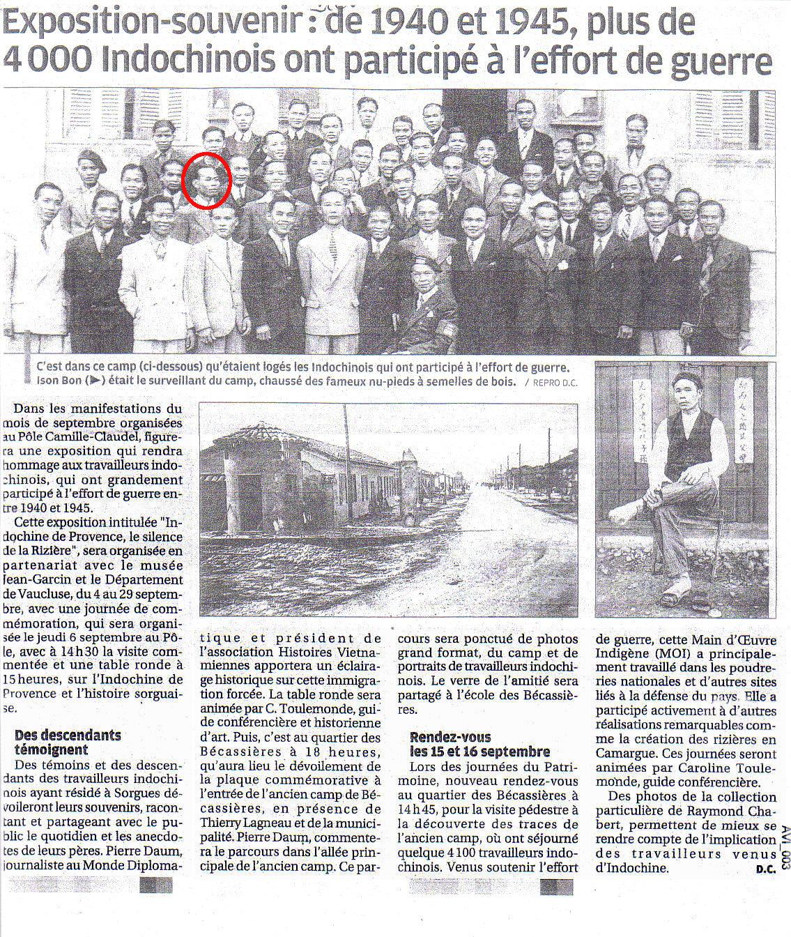Exposition commémorative de Sorgues.