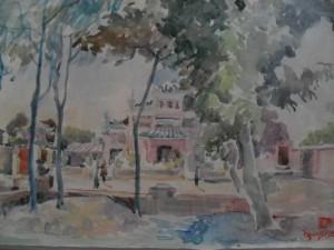 Temple de l'Empereur de Jade, aquarelle vernissée sur papier 31x49, (Saigon vers 1960)