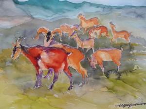 Troupeau de chèvres (Plomb du Cantal), aquarelle sur papier 50x44 (Paris, vers 1990)