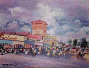 Marché de Saigon, huile sur toile 50x60, vers 1980