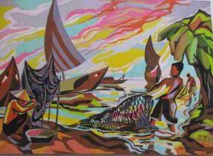Pêcheurs, gouache sur papier 29x40 (Saigon, 1964)