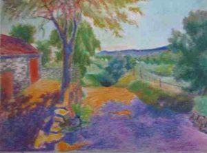 Chemin de campagne à Auliac, pastel à l'huile 52x68 (Paris, 1990)
